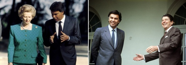 Felipe González con Margaret Thatcher y Ronald Reagan, cediendo España a los intereses imperialistas a los que todavía obedece.